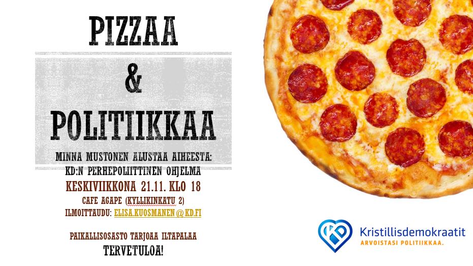 Pizzaa ja politiikkaa -keskusteluilta 21.11. klo 18