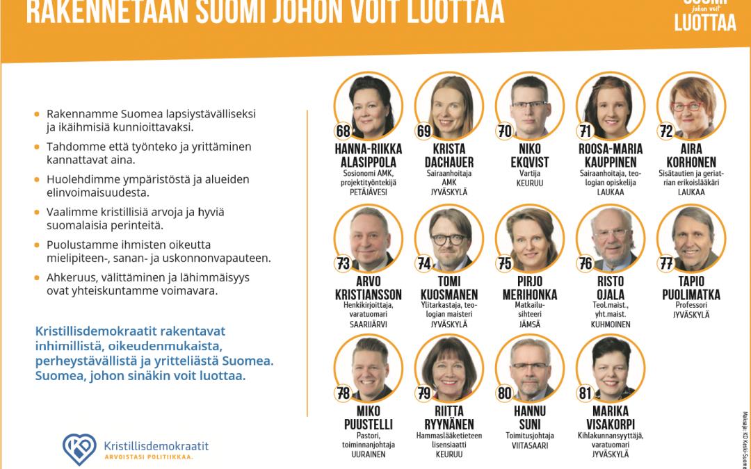 Keski-Suomen ehdokkaat ja ehdokasnumerot