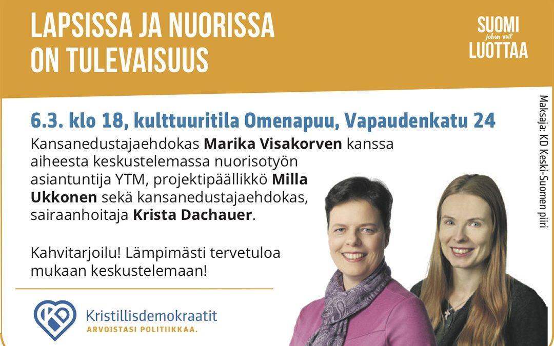 Marika Visakorpi ja Krista Dachauer vaalitapahtuma 6.3.