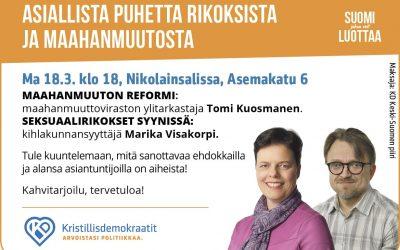 Tomi Kuosmanen ja Marika Visakorpi vaalitapahtuma 18.3