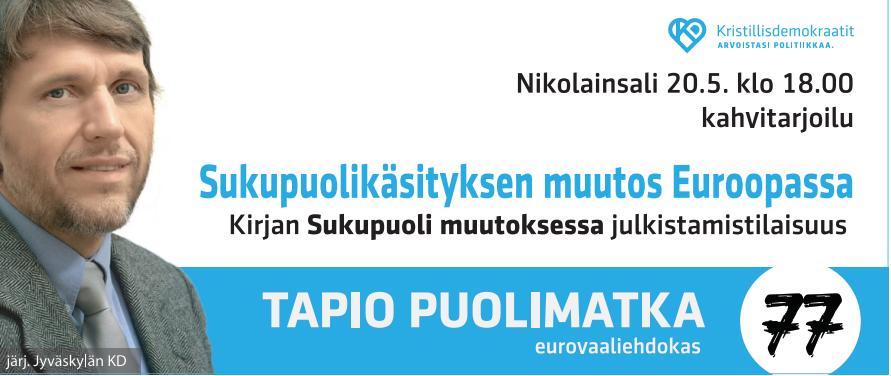 Tapio Puolimatkan Sukupuoli muutoksessa -kirjan julkistamistilaisuus 20.5.
